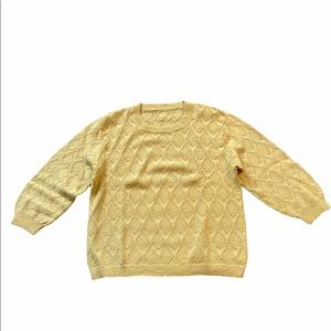 Vintage Oversized Yellow Knit Sweater 3/4 Sleeve Round Neck Loose Fit Size M GUC